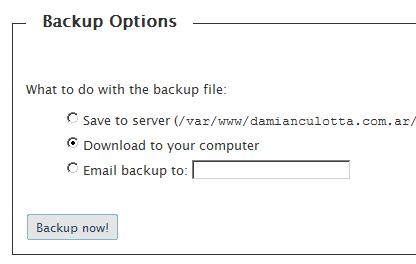 Formato de salida del backup