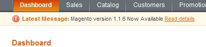 Aviso de Magento 1.1.6