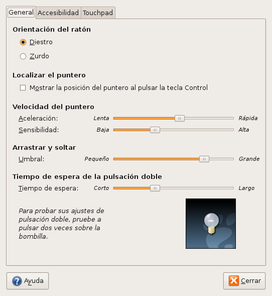 Preferencias del mouse en Ubuntu