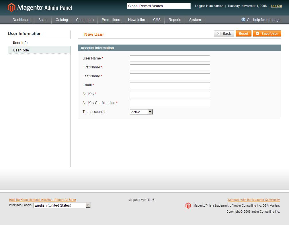 Nuevo usuario para el Web Service de Magento