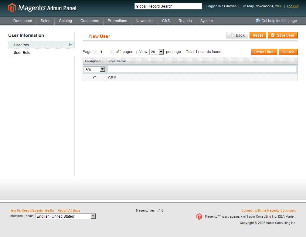 Asignación de Rol para el Usuario de la API de Magento