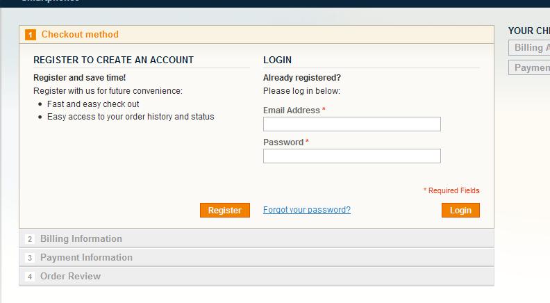 Registración para la compra del Producto descargable en Magento