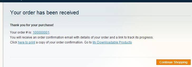 Confirmación de compra del Producto descargable en Magento