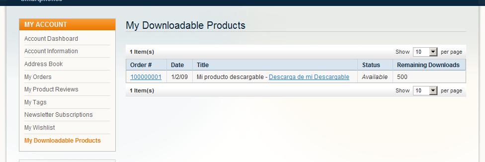 Descargando un Producto descargable en Magento