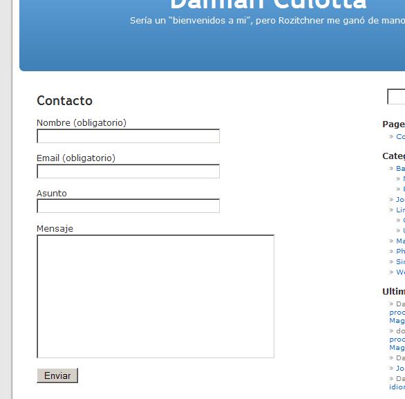Formulario básico provisto por Contact Form 7