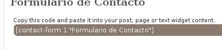 Código del formulario