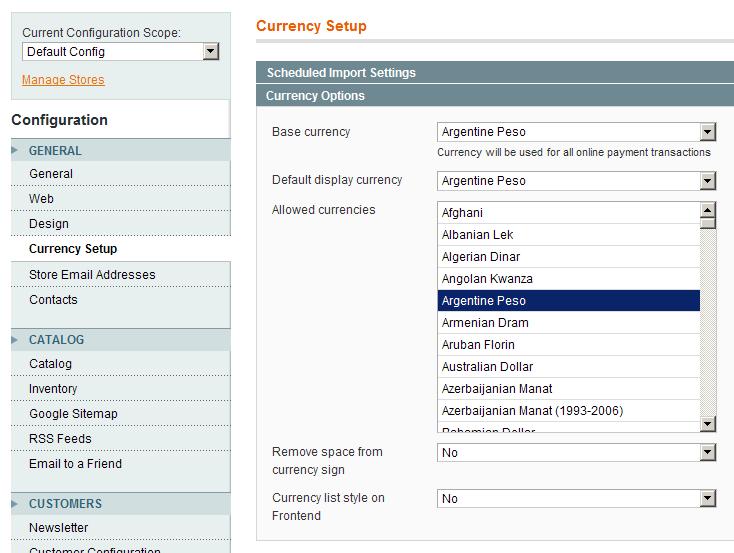 Nueva opción en la configuración de monedas en Magento