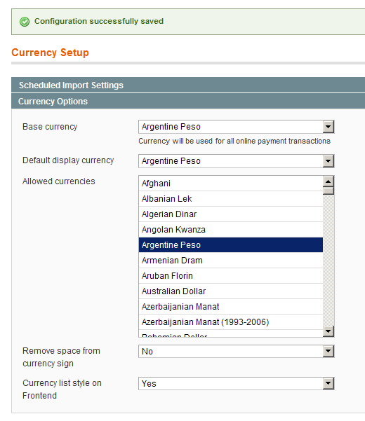 Configurando el cambio del CurrencySwitcher en Magento