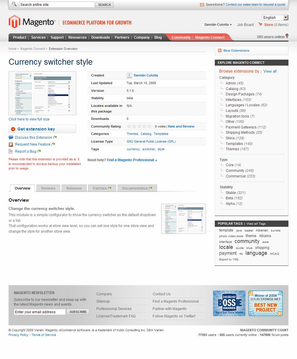 Página de la extensión Dc_CurrencySwitcher en Magento