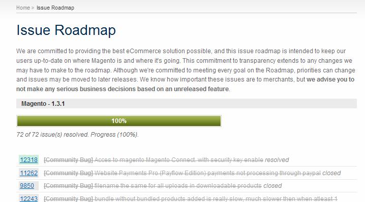 Roadmap de Magento 1.3.1