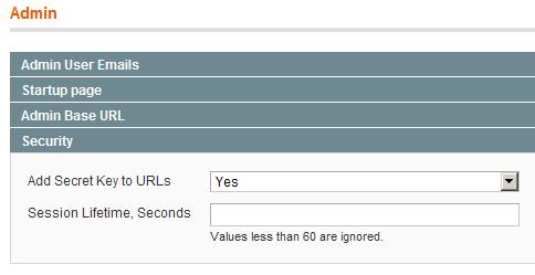 Configuración de la duración de las cookies en el backend de Magento