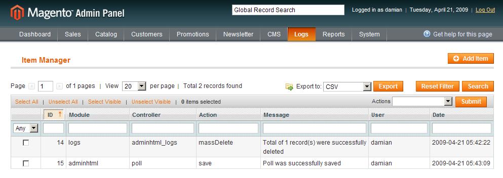 Logs en el backend de Magento con Dc Logs