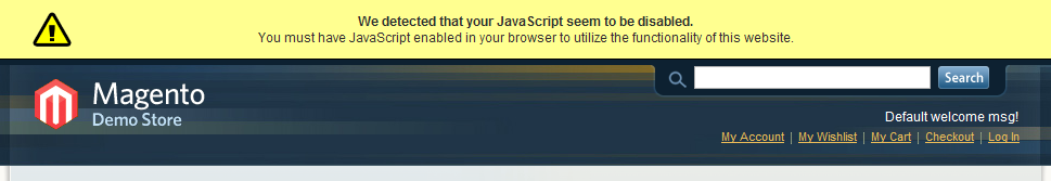 Alerta por la falta de Javascript en Magento