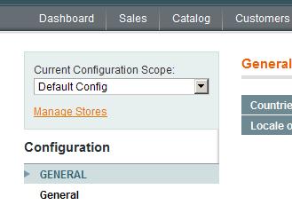 Selección del alcance de configuraciones en Magento