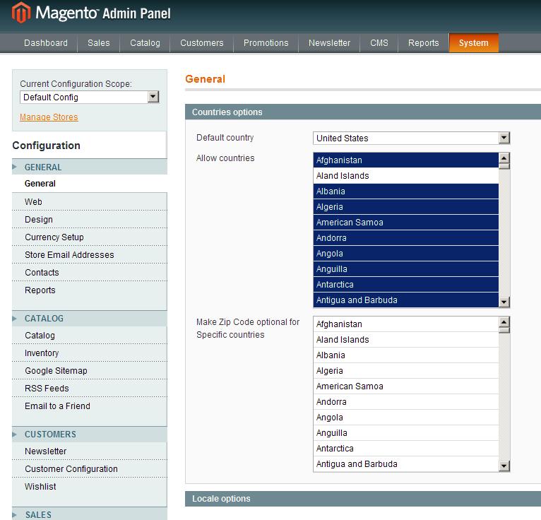 Opciones de código postal en Magento 1.4.0.0-alpha