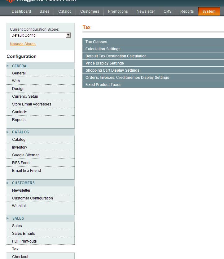 Nueva configuración de Impuestos en Magento 1.4.0.0-alpha