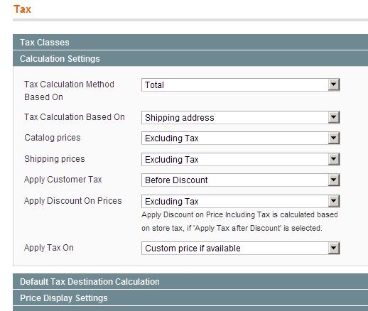 Cálculo de impuestos en Magento 1.4.0.0-alpha