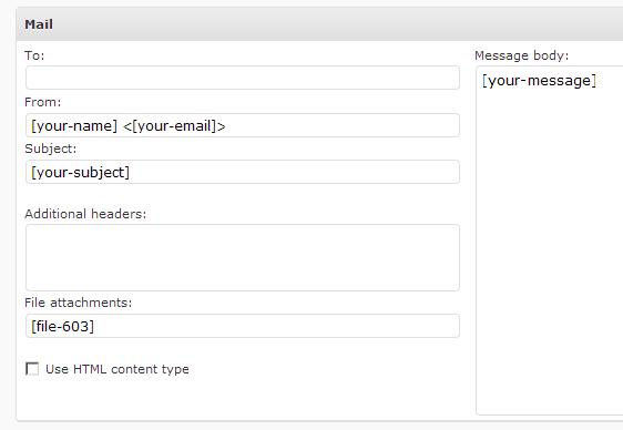 Configurando el envío de archivos adjuntos en Contact Form 7