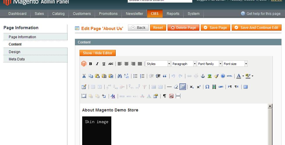 Editor WYSIWYG en Magento