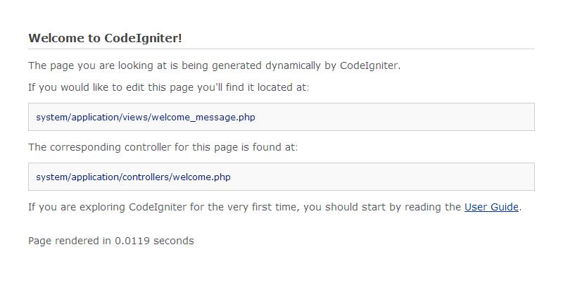 Bienvenida de CodeIgniter