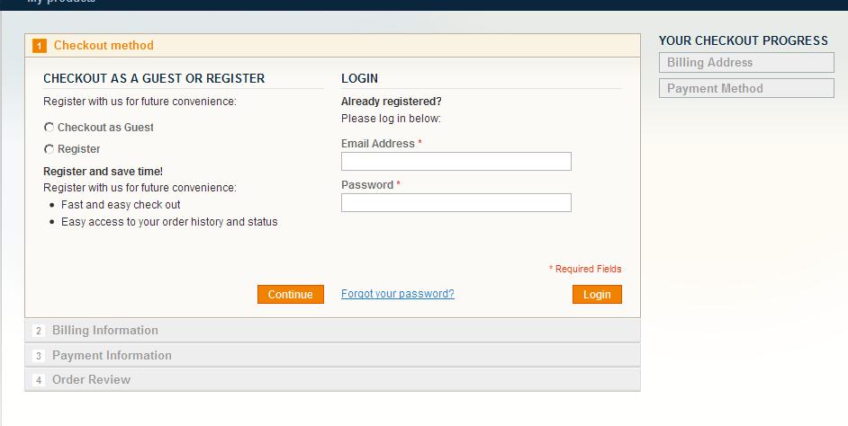 Checkout de un producto virtual en Magento