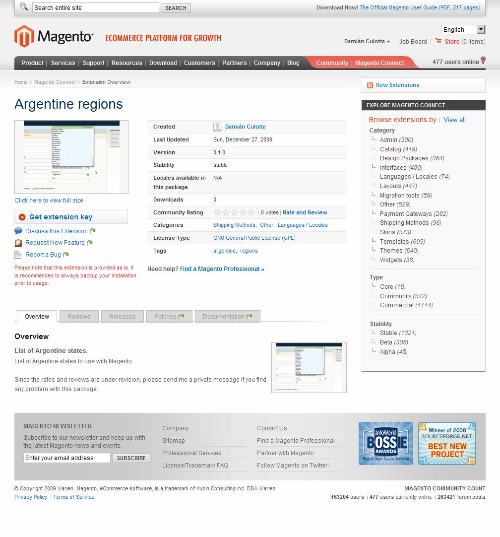 Página oficial de la extensión en los repositorios de Magento