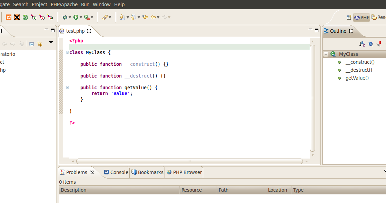 PhpEclipse instalado en Eclipse sobre Ubuntu