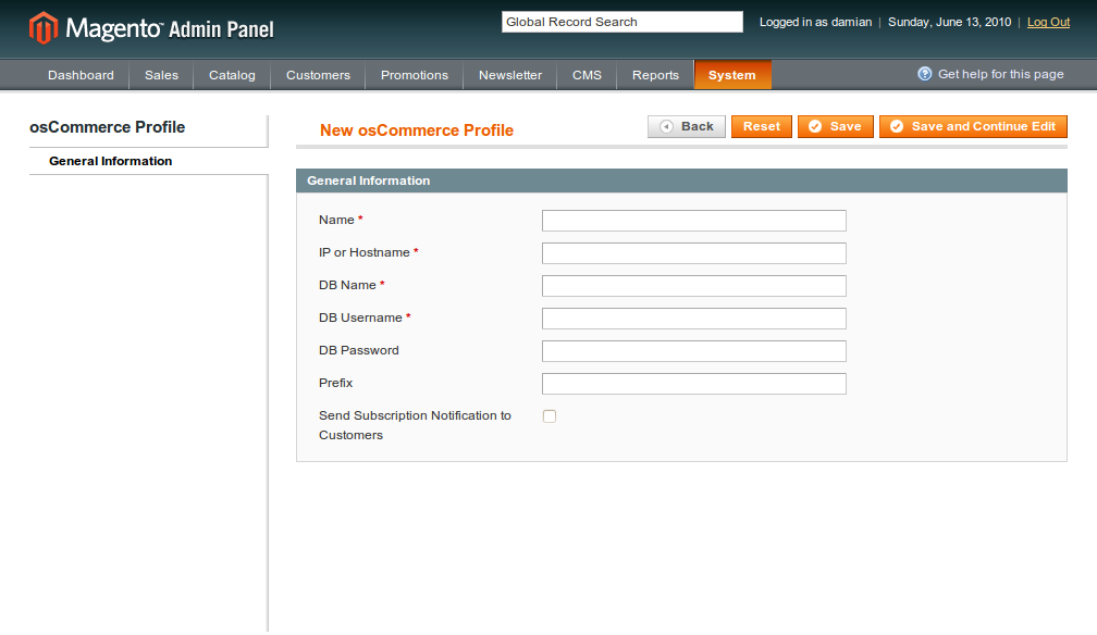 Configuración de los perfiles osCommerce dentro de Magento