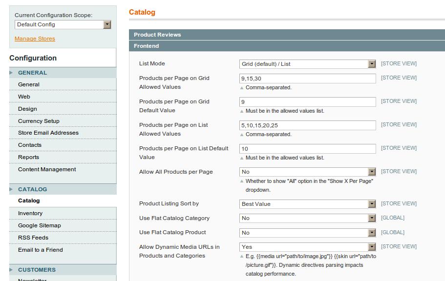 Configuración de url's para el catálogo de Magento