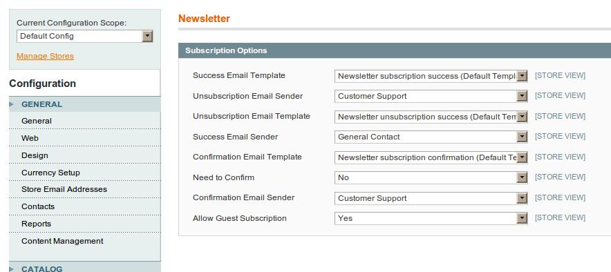 Opciones de configuración del Newsletter en Magento