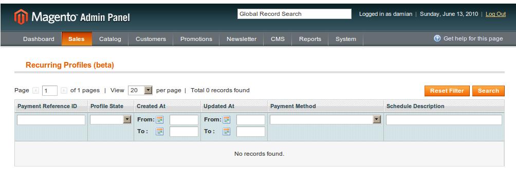 Dentro de las opciones de las ordenes de Magento encontramos la opción Recurring profile