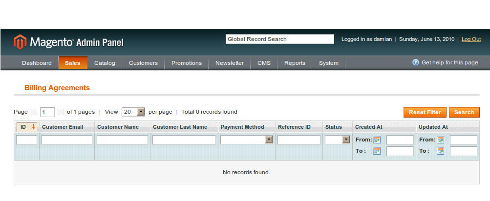 Registro de la acepatación de acuerdos de venta en Magento