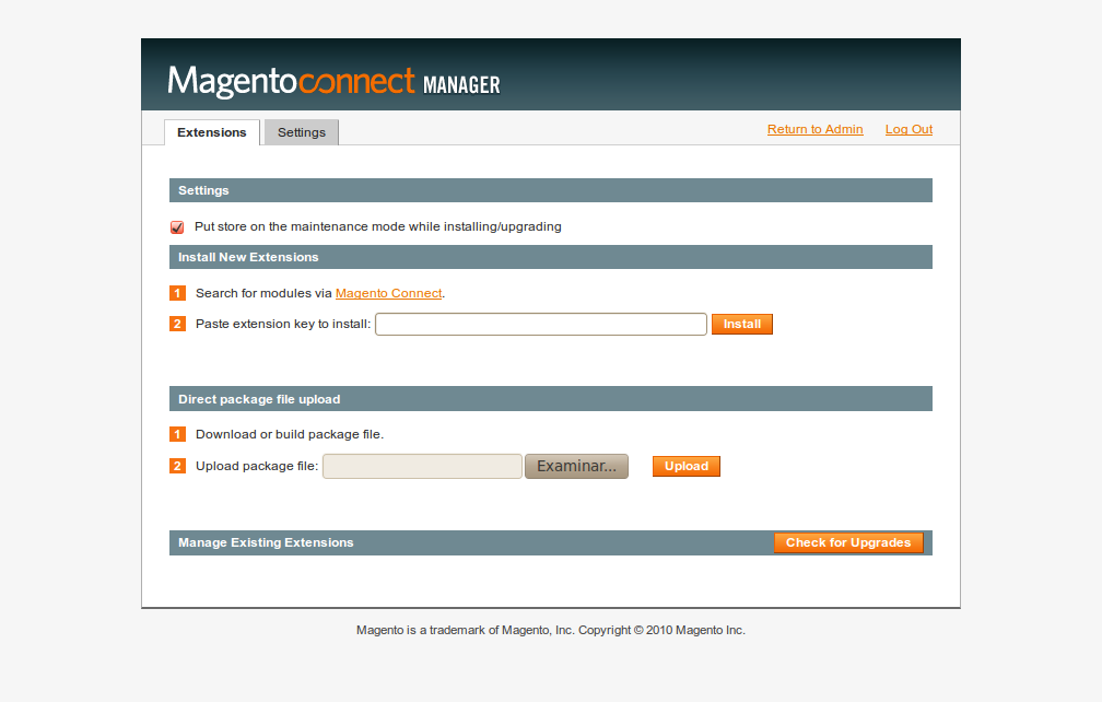 MagentoConnect Manager 2 en Magento