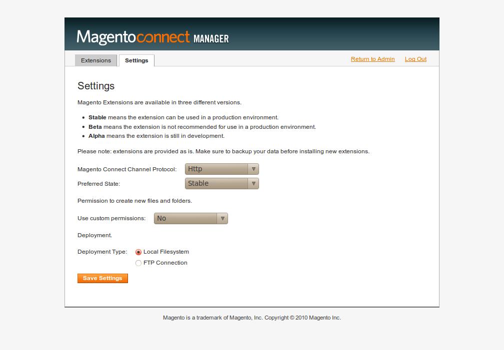 Parámetros de configuración de MCM 2 en Magento