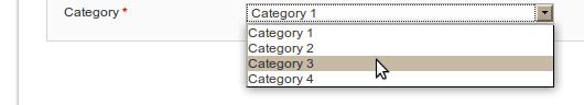 Dropdown con los valores obtenidos desde base de datos