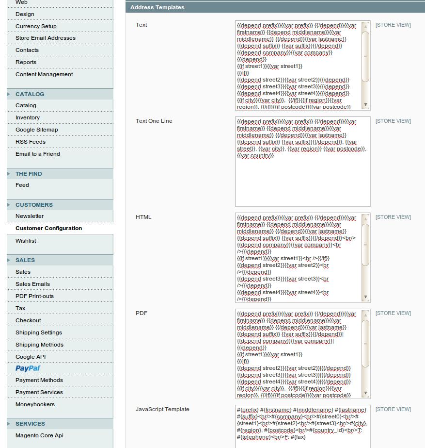 Configuración de parámetros para los Clientes en Magento
