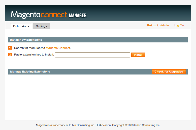 MagentoConnect Manager 1 en Magento 1.4.2.0-rc1
