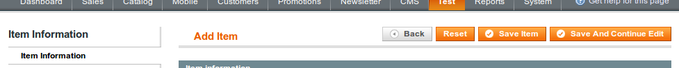 Botones por defecto utilziados en los formularios de Magento