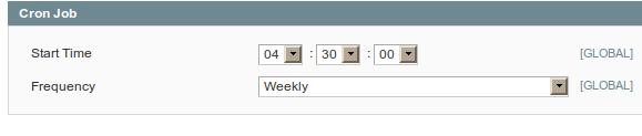 Configuración de cron jobs para ejecución un día por semana en Magento