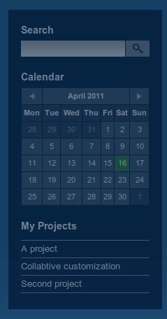 Calendario y Mis proyectos para la barra lateral