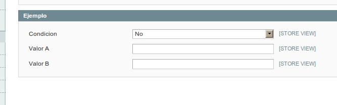 Formulario standard de configuración en Magento