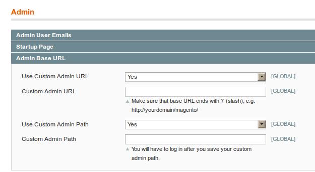 Opciones de configuración de URL personzalida para el backend en Magento