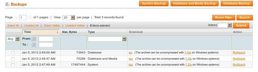 Tipos de backup de Magento