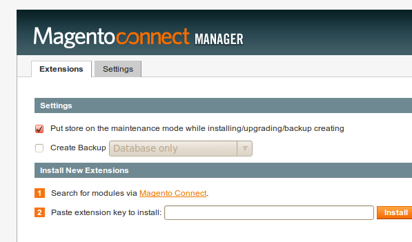 MagentoConnect Manager con opción de backup
