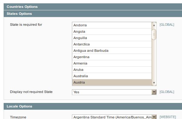 Configuración del uso de provincias en Magento