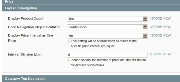 Nuevas configuraciones para el rango de precios en el layered navigation