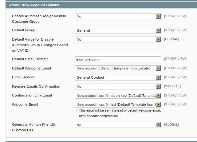 Opciones de configuración de clientes en Magento