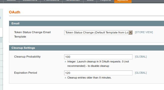 Opciones de configuración OAuth en Magento