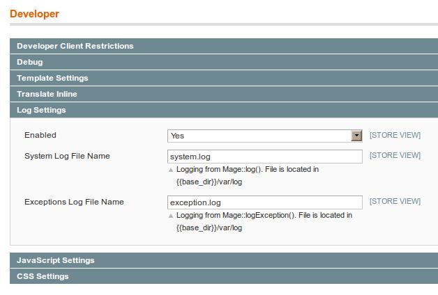 Configuración de logs en Magento