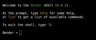 Bienvenida de la consola de Bender